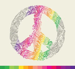 Rainbow peace symbol card.