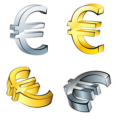 Set of Euro currency icons, isolated