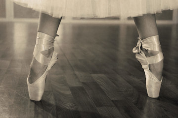 Ballerina legs in pointes in shades of grey