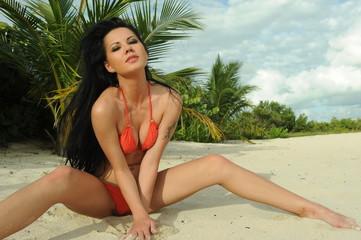 Brunette model posing sexy on the beach
