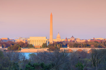 Fototapete - Washington DC skyline  Lincoln Memorial, Washington Monument and