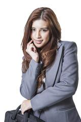 Business woman attractive with handbag