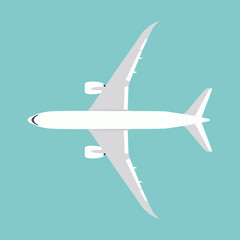 white aircraft (airplane) vector illustration, flat style