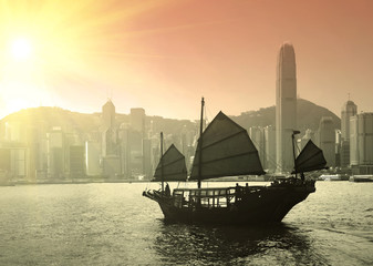Foto op Plexiglas Hong-Kong Sailing Victoria Harbor in Hong Kong