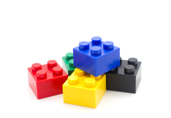 Lego , Plastic building blocks on white background