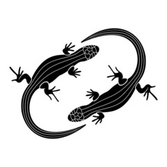 Vector sign. Lizards.