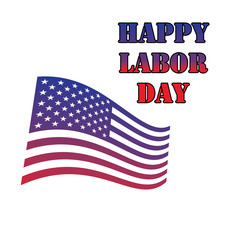 Happy labor day theme, text with flag elements