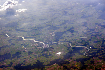 Aerial photograph of winding river
