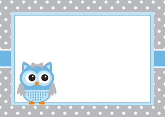 Baby boy owl invitation card template