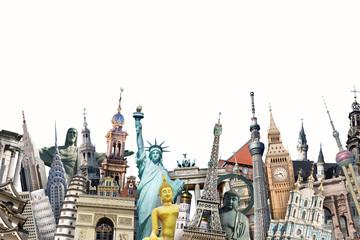 Fototapete - Travel around the world, world landmarks, tourism, background
