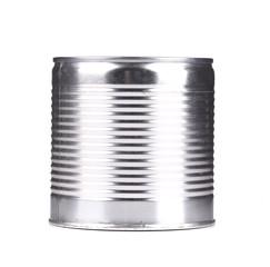 Silver tin can.