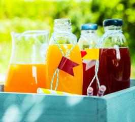 Homemade healthy fresh orange and berry juice