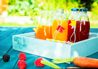 Healthy fresh fruit and vegetable juice blends