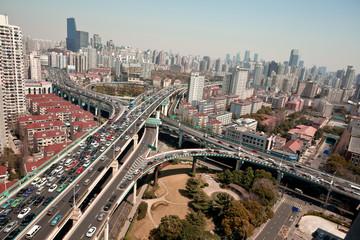 Bird view at city viaduct bridge of shanghai