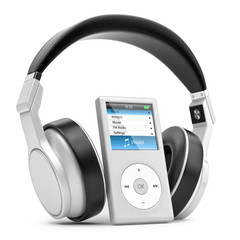Modern musical multimedia player and silver headphones.