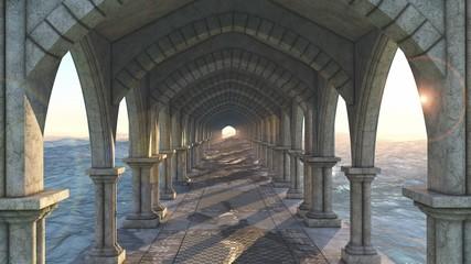 alignement pilier tombeaux avec vague