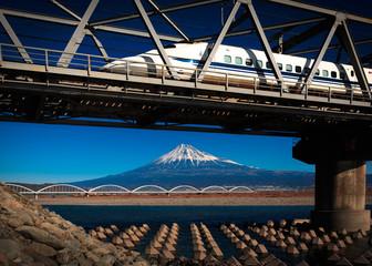 Fototapete - Fuji and Bullet Train
