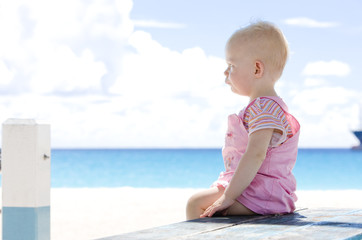 toddler on the beach, Barbados, Caribbean