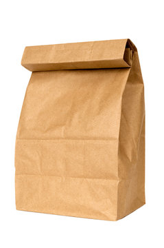 Brown Paper Lunch Bag Isolated On White