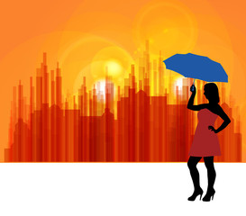Silhouettes of girl with umbrella
