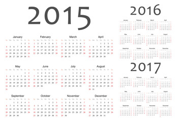 Set of european 2015, 2016, 2017 year vector calendars