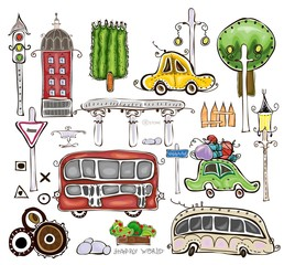 """City houses and car set  """"Happy world"""" collection"""