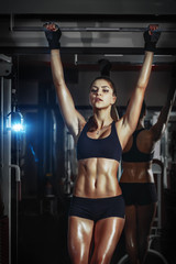 Wall Mural - athletic young sexy girl pulls up on bar in the gym