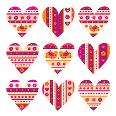 Valentines Day. Hearts. Wedding. Vector illustration.