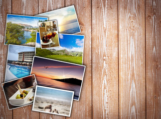 travel collage on wooden background