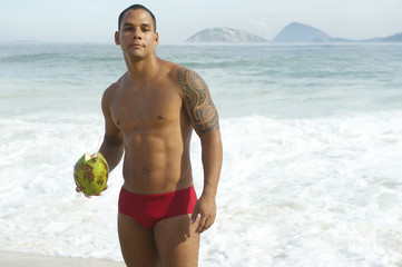 Brazilian Man Holding Coconut Rio de Janeiro Beach