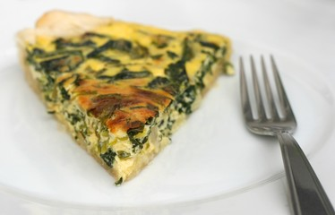 Healthy home made vegetarian meal - piece of quiche