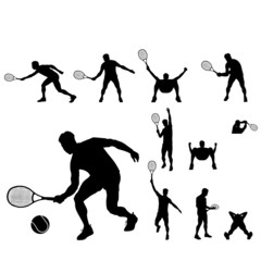 tennis players silhouettes vector group
