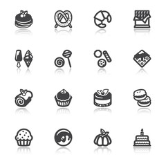 Desserts flat icons with reflection