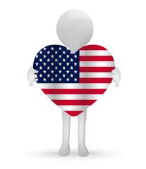 3d man hands holding a USA flag