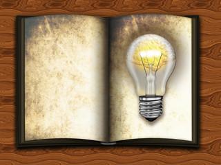 altes Buch mit Glühbirne. Lesen bildet