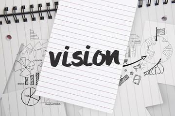 Vision against brainstorm doodles on notepad paper