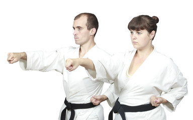 On white background two adults sportsmen are beating punch hand