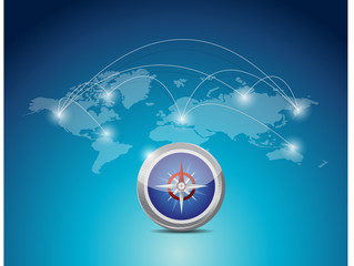world map connection network illustration design
