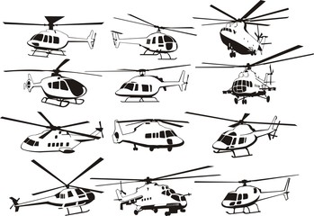 helicopters outline set Wall mural