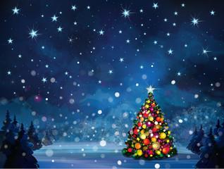 Vector winter scene with Christmas tree.