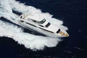 Aerial View of Luxury Yacht at Sea