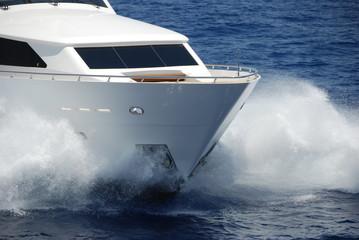 Bow of Yacht At Sea