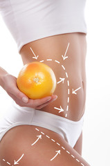 Dieting concept, beautiful belly and a fruit isolated on white