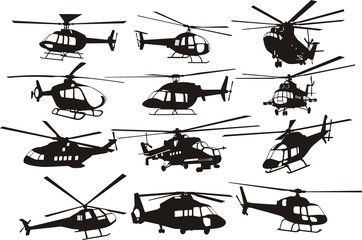 helicoptersilhouettes set Wall mural