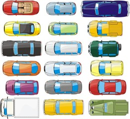 set of  top view cars