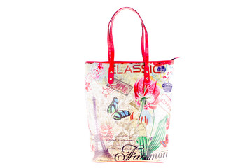 Flower and butterfly bag isolated