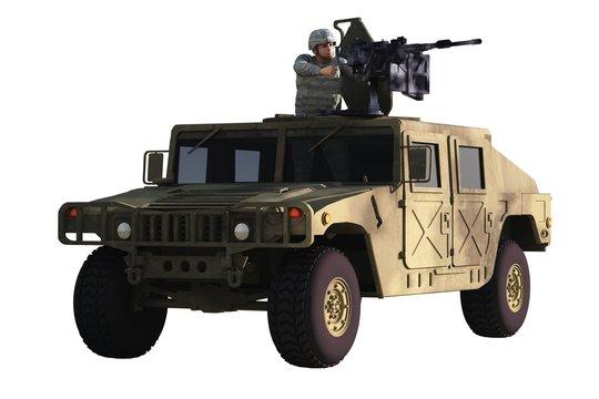 Gunner on Humvee