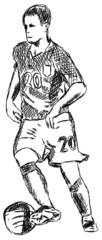 Fußball Fußballer Spieler spielen Zeichnung Grafik