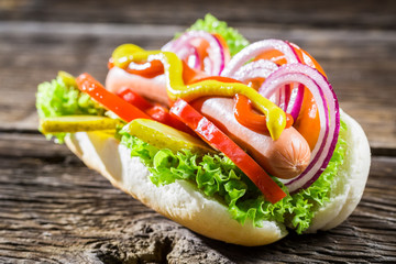 Homemade hot dog with fresh vegetables