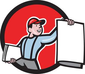 Newsboy Selling Newspaper Circle Cartoon